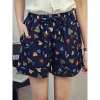 Plus Size High Waisted Floral Print  Culotte Shorts