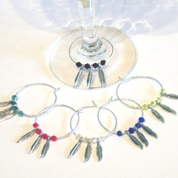 Wine Charms Set of 6 Dream Feather Collection Handmade Great Gift
