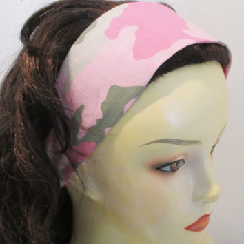 Pink Camo Reversible Headband for Women - Wide Fabric Headband for Teens - Wide Cotton Headband - Wrap Around Headband