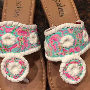 Jack Rogers inspired sandals with a Lilly Pulitzer like design.