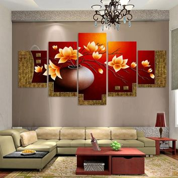 Unframed 5 Piece Picture Flower Vase Canvas Art Print Oil Painting Wall Pictures for Living Room Paintings Cuadros Decorativos