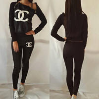 CHANEL Fashion Zipper Sport Gym Set Two-Piece Top Pants Sportswear