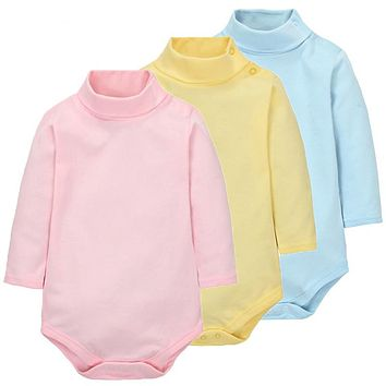 100% Cotton Baby Bodysuit Autumn Long Sleeved Solid Turtleneck Jumpsuit Infant Baby Girl Clothes Newborn Roupa Baby Boy Clothing