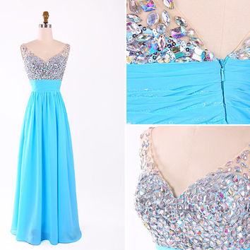 New Arrival 2015 Blue V Neck Beading Chiffon Long new Prom Dress/Sexy Flowy Evening Party Dress/Light Blue Floor Length Prom Dress EM816