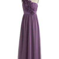 ModCloth Luxe Long One Shoulder Empire Let Love Flourish Dress