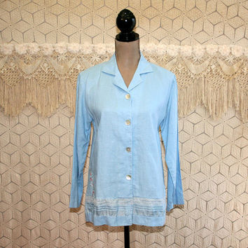 Linen Blouse Embroidered Shirt Light Blue Top Boho Romantic Lace Long Sleeve Button Up Tunic Small Medium Vintage Clothing Womens Clothing