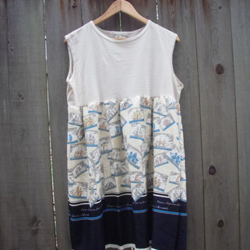Nautical Baby Doll Dress/ Eco Dress/ Retro Frock Upcycled Medium Womens Dresses
