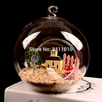 Transparent Glass Hanging Vase With 1 Hole Plant Flower Terrarium Creative Hydroponic Christmas Gifts Home Wedding Decoration