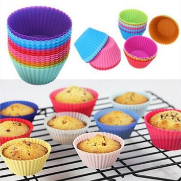 12 pcs Silicone Cake Cupcake Liner Baking Cup Mold Muffin Round Cup Cake Tool Bakeware Baking Pastry Tools Kitchen free shipping