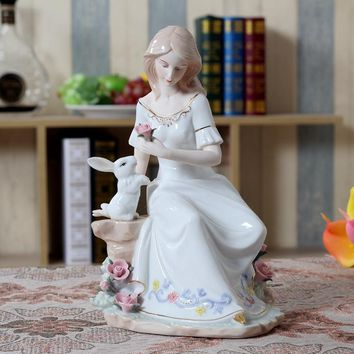 Vintage Porcelain Lady and Rabbit Figurine Ceramic Gift and Craft Ornament Accessories for Home Decoration and Valentine's Day