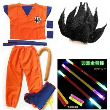 LMFON Dragon Ball GoKu Cosplay Costume Adult /Child Anime cosplay clothes Top+ pants + wrist + shoe cover + tail + stick + wig + belt