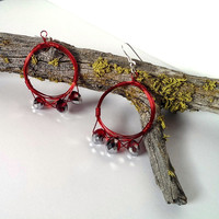 Red beaded strand hoop earrings wire wrapped