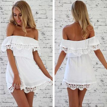 DCCKVQ8 Fashion Solid Color Frills Off Shoulder Stitching Hollow Lace Mini Dress