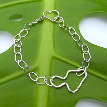 Maui Island Bracelet, Silver Chain, Heart Charm, Adjustable, Handmade, Hawaii Beach Jewelry, Christmas, Maui Wedding, Bridesmaid Gift