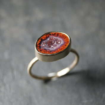 Red Geode Druzy Ring in Solid 14K Yellow Gold