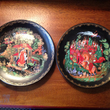 Wall Hanging Vintage Russian Plates Bradford Mint Collectables 1980s