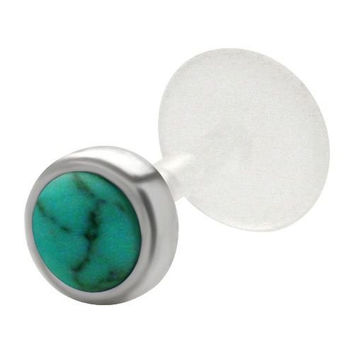 Green Simulated Opal 925 Sterling Silver Bioplastic Tragus Earring or Labret Lip Stud