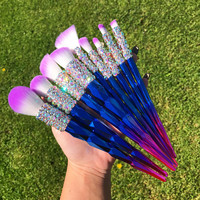 Set of 9 VEGAN Unicorn Assorted Makeup Brush Set w/ Iridescent Crystals
