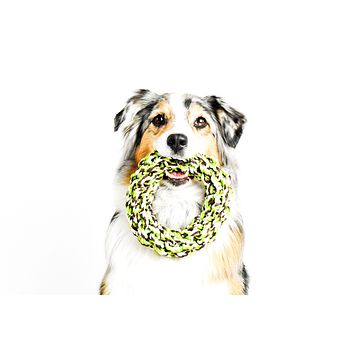 Rope Ring Tug of War, Toss and Fetch Dog Chew Toy