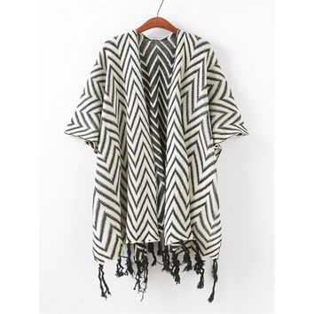 Chevron Stripe Fringe Hem Poncho Sweater