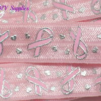 Pink Cancer awarness metallic fold over elastic, Printed FOE, 5/8 elastic, Headband elastic,  elastic by the yard