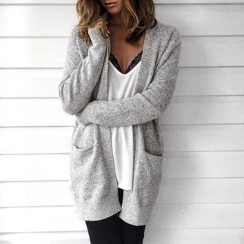 DCCKHQ6 Loose Long-Sleeved Knit Cardigan Sweater Jacket