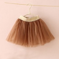 Annalisa Brown Tulle Skirt - Bottoms