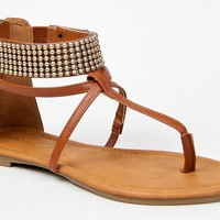 Bamboo PROMISE-02 Beaded Ankle Strap Cuff T-Strap Thong Flat Gladiator Sandal