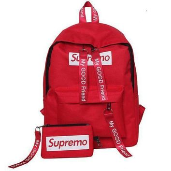 LMFUP0 Supreme Canvas Casual Sport School Shoulder Bag Satchel Laptop Bookbag Backpack Clutch Bag Wristlet Purse Two-Piece-3