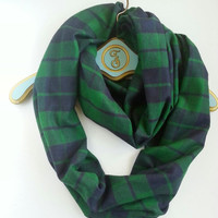 Blue Green Plaid Infinity scarf, Warm Boho Infinity Scarf, Neutral infinity