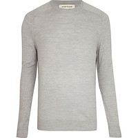 River Island MensLight grey raglan sleeve sweater