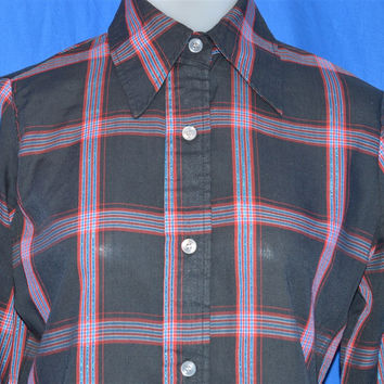 80s Levi's Plaid Button Down Shirt Blouse Women's Small/Medium