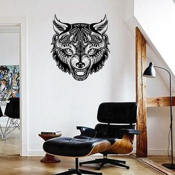 ik1824 Wall Decal Sticker Wolf grin ornament tattoo style bedroom living animal