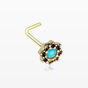 Golden Lotus Opal Sparkle Filigree Icon L-Shaped Nose Ring