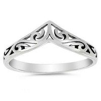 V Shaped Swirl Design Sterling Silver Ring