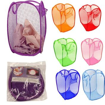 New Multi-Function Foldable Pop Up Nylon Mesh Washing Clothes Laundry Basket Bag Hamper Mesh Storage Home 50.5*32*26.5cm@ST