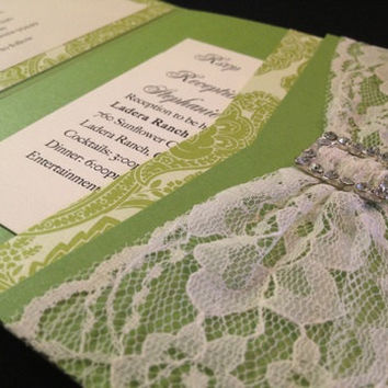 50 Wedding Paisley Green with Lace & by PaperDivaInvitations