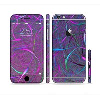 The Purple and Blue Electric Swirels Sectioned Skin Series for the Apple iPhone 6 Plus