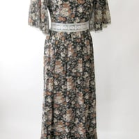70s Floral Maxi Dress Prom Dress Black Brown Flutter Sleeves Medium