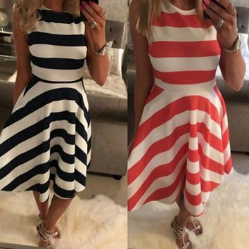 Heyouthoney 2017 New Vintage Women Summer striped print Dresses 50s 60s lace cute Party sashes Swing Dresses clothing vestidos