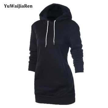 YuWaiJiaRen  Autumn Hoodie Long Sleeve Slim College Style Women hoody Dress Letter Print with Hooded Front Pocket sweatshirt