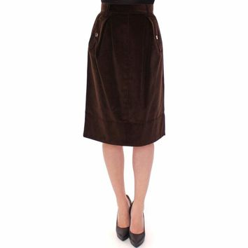 Dolce & Gabbana Brown Manchester Knees-Length Pencil Skirt