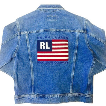 e1464e88609e2c Vintage Ralph Lauren Polo Sport Blue Jean Jacket Unisex Clothing Distressed  80s 90s