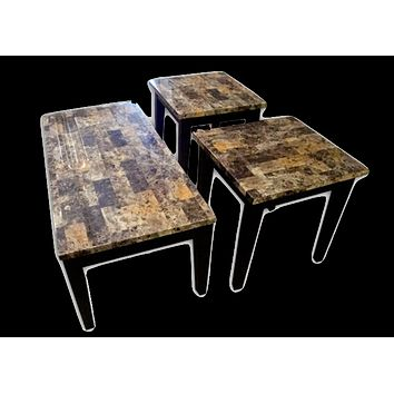 16002L Breccia Faux Marble End Table