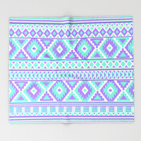 Tribal Art Creation Purple and Mint Throw Blanket by Tjc555 | Society6
