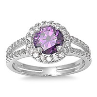 Sterling Silver Simulated Purple Amethyst Halo Ring - Size 6