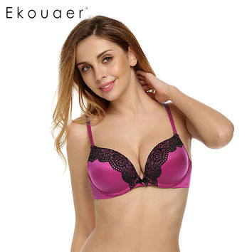 Ekouaer Women Bra 3/4 Cup Sexy Seamless bra  Lace Push Up Bras Women underwear Adjusted straps 5 Colors Large Cup A B C D E