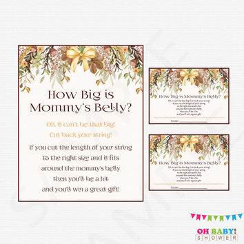 How Big is Mommy's Bell, Fall Baby Shower Games, Girl Boy Autumn Baby Shower Printables Activity, Instant Download, Baby Belly Game FF01