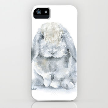 Mini Lop Gray Rabbit Watercolor Painting iPhone & iPod Case by Susan Windsor