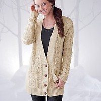 Womens Cable Cardigan - Button Cardigan